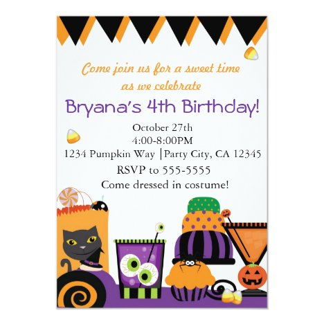Halloween Sweets & Candy Fun Party Invitations