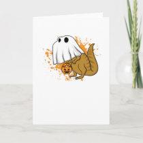 Halloween T Rex Dinosaur Ghost Trick or Treat Card