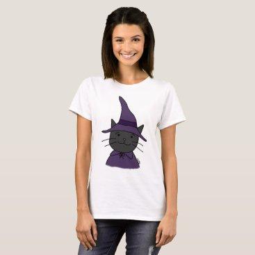 Halloween Themed Halloween T-shirt Cute Black Cat Wizard T-shirt