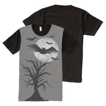 Halloween Themed Halloween T-Shirt with Bats, Moon, Tree