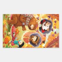 artsprojekt, halloween, tea, bear, forest, autumn, fall, halloween costume, tea party, children illustration, cute halloween, children, kids, kid, illustration, cute bear, leaves, pumpkin, pumpkin head, girl, little girl, vampire, trick or treat, cute vampire, vampire costume, Sticker with custom graphic design