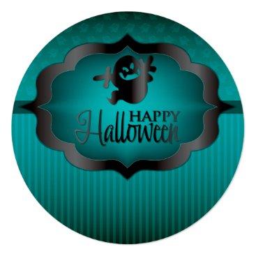 Halloween Themed Halloween teal ghost card