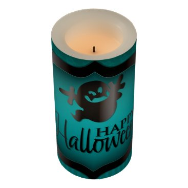 Halloween Themed Halloween teal ghost flameless candle