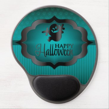 Halloween Themed Halloween teal ghost gel mouse pad
