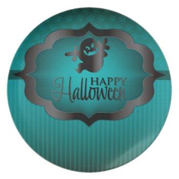 Halloween Themed Halloween teal ghost melamine plate