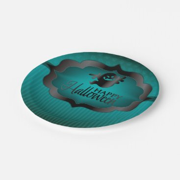 Halloween Themed Halloween teal ghost paper plate
