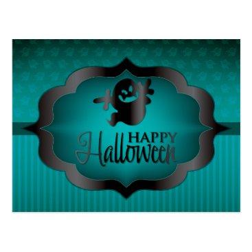 Halloween Themed Halloween teal ghost postcard