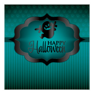 Halloween teal ghost poster