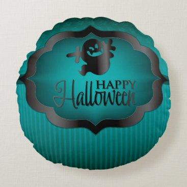 Halloween Themed Halloween teal ghost round pillow