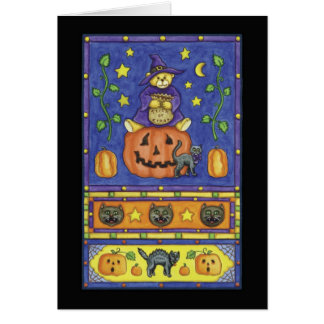 Halloween teddy bear on pumpkin card