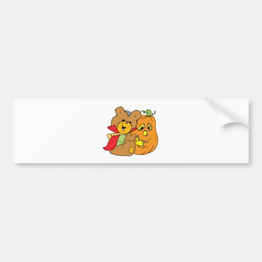 halloween teddy bear with jack-o-lantern pumpkin bumper sticker