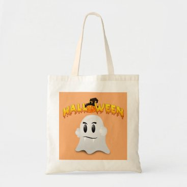 Halloween Themed Halloween Text and White Ghost Tote Bag