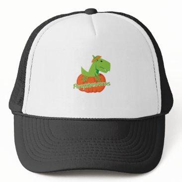 Halloween Themed Halloween Thanksgiving Pumpkasaurus Dinosaur Trucker Hat