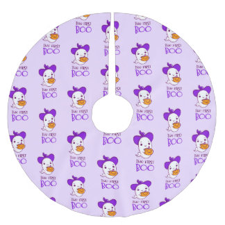 Halloween The First Boo Pink Brushed Polyester Tree Skirt