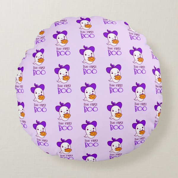 Halloween The First Boo Pink Round Pillow