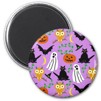 Halloween Theme Collage Toss Pattern Purple 2 Inch Round Magnet