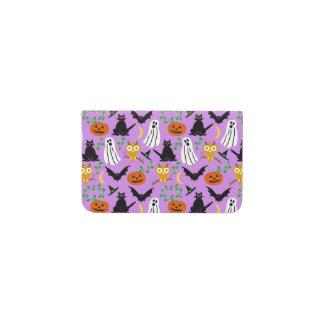 Halloween Theme Collage Toss Pattern Purple Business Card Holder