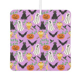 Halloween Theme Collage Toss Pattern Purple Car Air Freshener