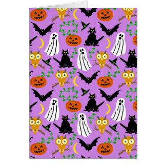 Halloween Theme Collage Toss Pattern Purple Card
