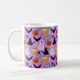 Halloween Theme Collage Toss Pattern Purple Coffee Mug