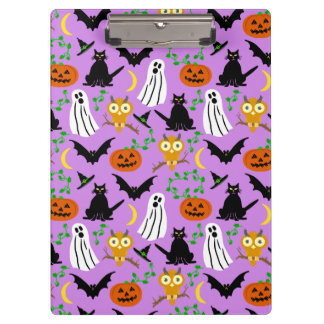 Halloween Theme Collage Toss Pattern Purple Cute Clipboard