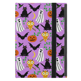 Halloween Theme Collage Toss Pattern Purple Cute Cover For iPad Mini