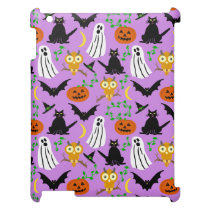 Halloween Theme Collage Toss Pattern Purple Cute iPad Covers