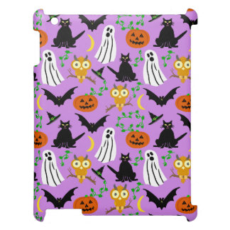 Halloween Theme Collage Toss Pattern Purple Cute iPad Covers