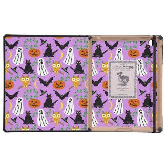 Halloween Theme Collage Toss Pattern Purple Cute iPad Folio Case
