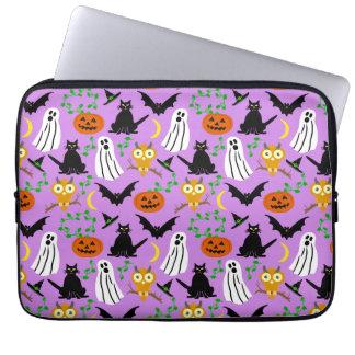 Halloween Theme Collage Toss Pattern Purple Cute Laptop Computer Sleeves