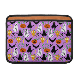 Halloween Theme Collage Toss Pattern Purple Cute Sleeves For MacBook Air
