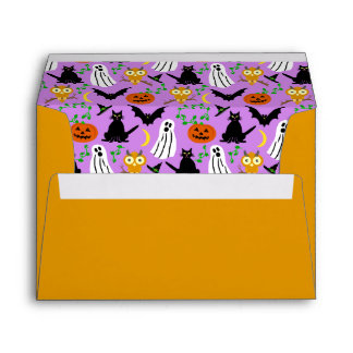 Halloween Theme Collage Toss Pattern Purple Envelope