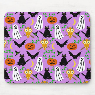 Halloween Theme Collage Toss Pattern Purple Mouse Pad