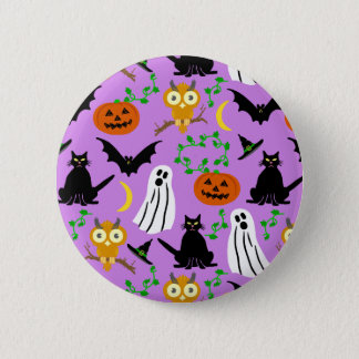 Halloween Theme Collage Toss Pattern Purple Pinback Button