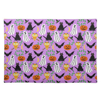 Halloween Theme Collage Toss Pattern Purple Placemat