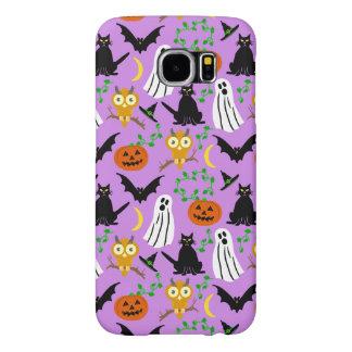 Halloween Theme Collage Toss Pattern Purple Samsung Galaxy S6 Cases