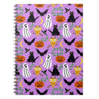 Halloween Theme Collage Toss Pattern Purple Spiral Notebook