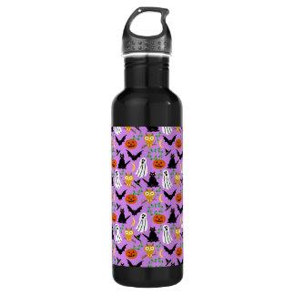 Halloween Theme Collage Toss Pattern Purple Stainless Steel Water Bottle