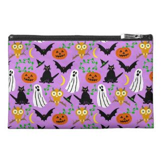 Halloween Theme Collage Toss Pattern Purple Travel Accessory Bag
