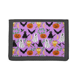 Halloween Theme Collage Toss Pattern Purple Trifold Wallet