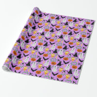 Halloween Theme Collage Toss Pattern Purple Wrapping Paper