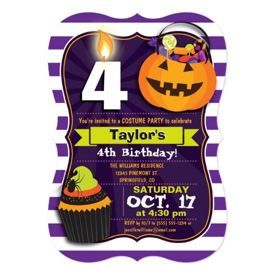 Halloween Theme Kids Birthday Costume Party Card