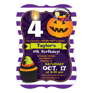 Halloween Theme Kids Birthday Costume Party 5x7 Paper Invitation Card