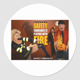 Halloween Theme Safety Geeks Funny Warning Classic Round Sticker