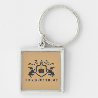 Halloween Theme Silver-Colored Square Keychain