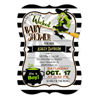 Halloween Theme Witch Baby Shower Invitation