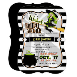 Halloween Theme Witch Bridal Shower Invitation