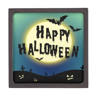Halloween theme with bats and graveyard keepsake box