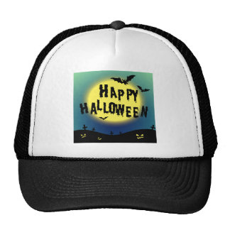 Halloween theme with bats and graveyard trucker hat