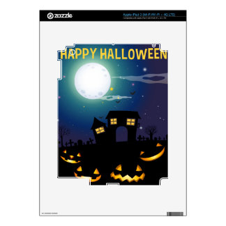 Halloween theme with haunted house and faces iPad 3 skin